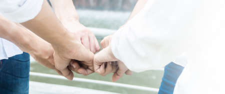 Team teamwork business join hand together concept, Power of male and female volunteer charity work