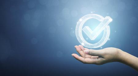 Standard quality control certification assurance guarantee. Concept of internet business technology digital Stock Photo