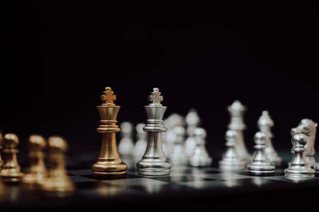 Chess board game, Strategy planning and competition business concept.