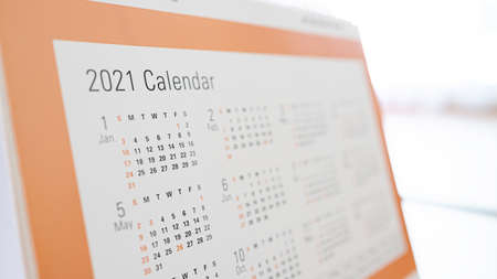 Defocus image, Calendar 2021 month and date schedule. Concept of planning work and life