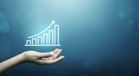 Business development to success and growing growth concept. Businessman holding graph and arrow increase