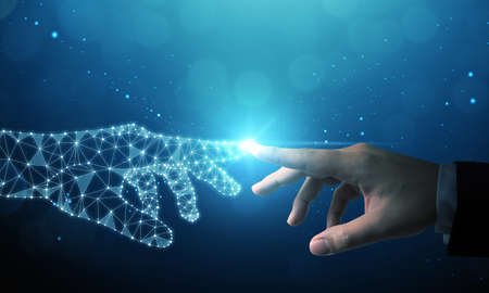 Hand of businessman touching hand artificial intelligence meaning technology connection go to future Фото со стока