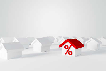 Miniature red roof house with percent icon among white houses for real estate property industry. 3d illustration