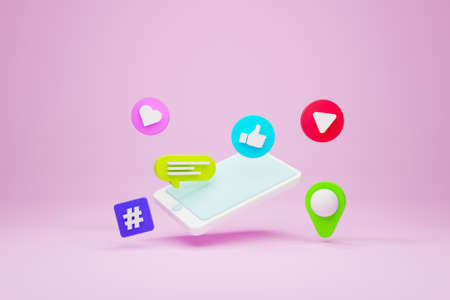 Mobile smartphone and icon speech bubble, hashtag, pin map, like and play streaming on pink background. Social media concept. 3d illustration
