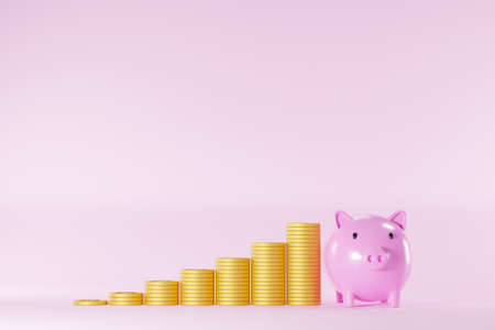 Save money and investment concept. Piggy bank and coins stack step up increase on pink background. 3d illustration 免版税图像