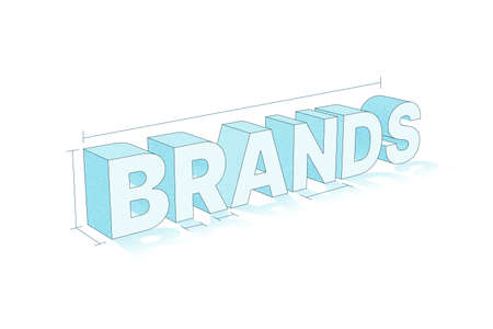 Brand concept. 3d illustration of brand word lettering typography on white background