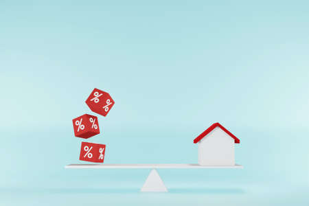 Interest rate financial and mortgage rates concept. Home and cube block shape with icon percent on balance seesaw scales. 3d illustration