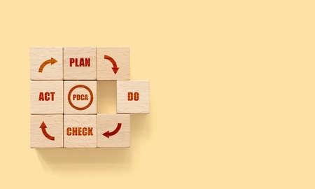 Cubes dice wooden block with text plan, do, check, act - pdca concept Foto de archivo