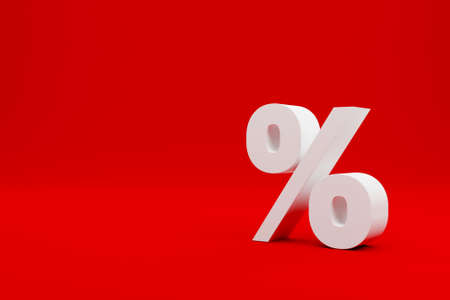 Percentage icon on red background and copy space. 3d illustration