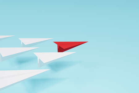 Leadership concept. Red paper airplane leading among white on cyan background. 3d illustration