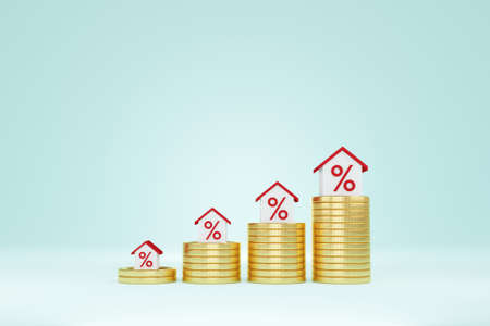 Property investment and house mortgage financial concept. Money coin stack step up growing growth house. 3d illustration
