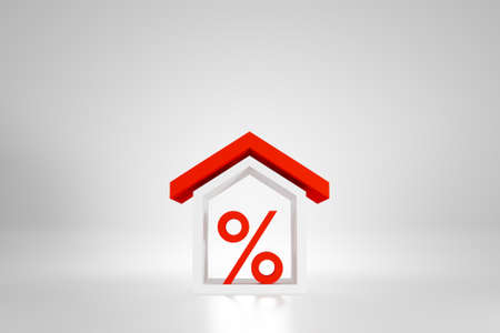 Property investment and real estate, Mortgage financial. Percentage icon with house on white background. 3d illustration