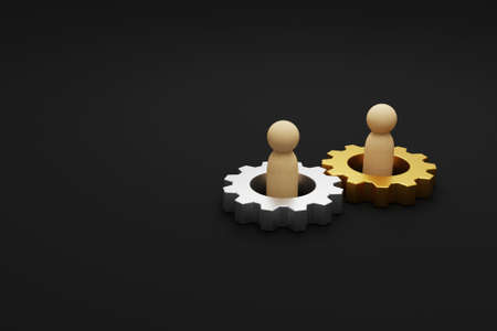 Merger and acquisition business partnership, Join company, Shareholder, Corporate Cooperation. Gear process and human 3d illustration