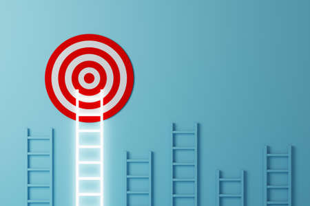 Stand out from the crowd and think different creative idea concepts. Longest white ladder growing up growth to aiming high to goal target. 3d illustration 免版税图像