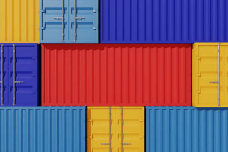 Background pattern stacking of container box. Logistic and shipping business service. 3d illustration 免版税图像