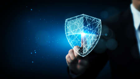 Protection network cyber security computer and safe your data concept, Businessman pointing shield protect icon