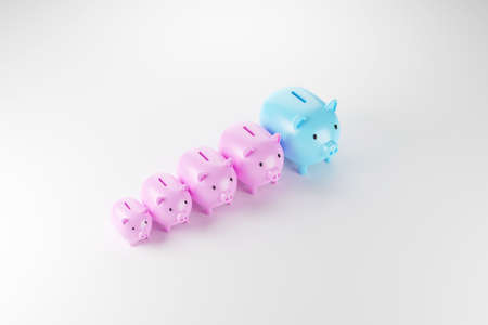 Piggy bank arranging growth size. Save money and investment concept. 3d illustration