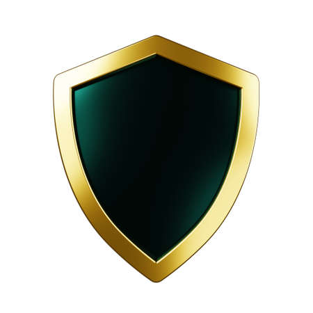 Protected guard shield concept. Safety badge color icon. Security label. Defense safeguard sign. 3d illustration 版權商用圖片