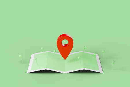 Mobile navigation, gps satellite navigation, travel, tourism and location route planning concept. Map and red pinpoint on green background. 3d illustration 版權商用圖片