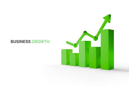 Growthing graph bar with rising arrow. Business development to success and growing growth concept. 3d illustration