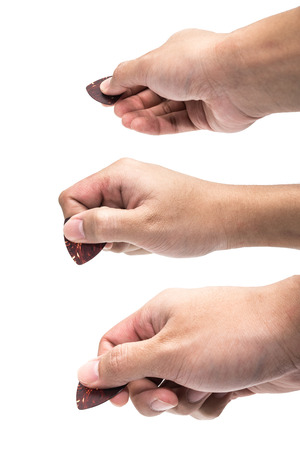 guitar pick: Hand with pick guitar set  Stock Photo