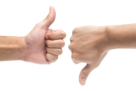 Thumb up and thumb down hand signs isolated on white Reklamní fotografie