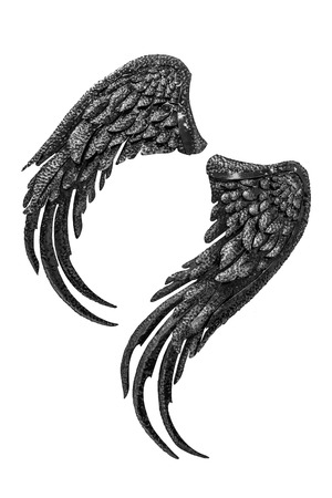 the angel of death: Steel Wing balck and white Dark