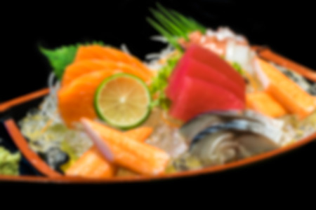 exotically: Blur Sashimi seafood on boat Japanese food on boat 3 Stock Photo