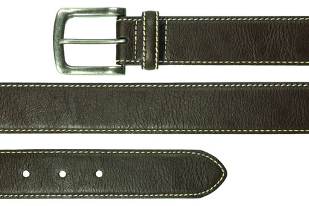 brown leather: Leather belt isolated on white background