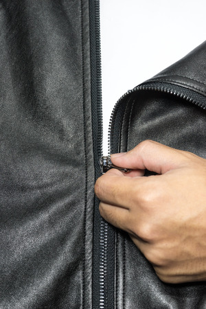 leather coat: Zip on leather coat with Hand