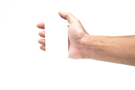 male hand: hand hold virtual business card Or Paper Isolated on white   Stock Photo