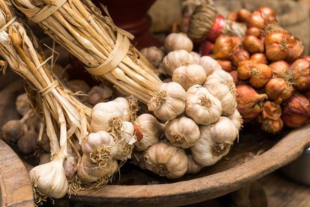 fresh garlic: garlic in vintage kitchen