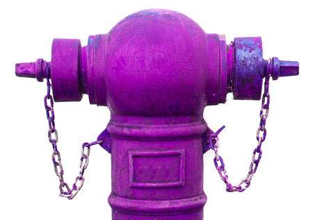 old fire hydrant: Old Purple fire hydrant isolated on white Stock Photo