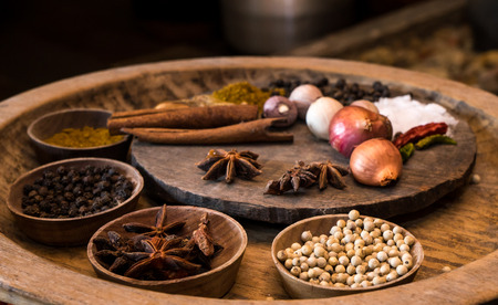 variability: spices in vintage kitchen