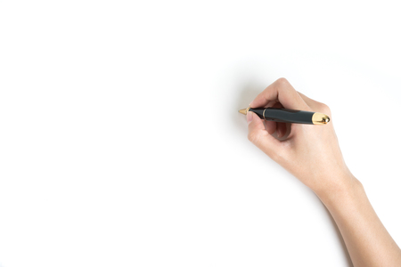 Hand Holding a pen on white background