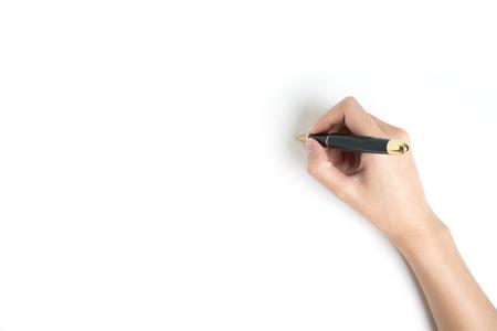 손을 흰색 배경에 펜을 들고 스톡 콘텐츠