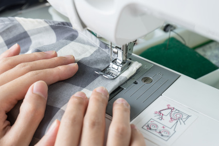 sewing needle: Sewing Process , the sewing machine sew womens hands sewing machine
