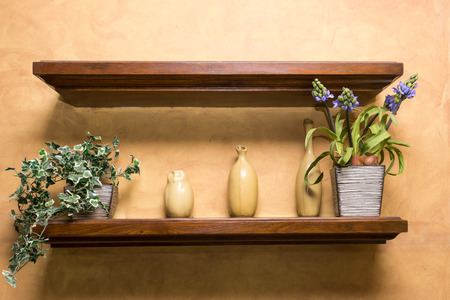 wooden shelf: wooden shelf on wall , Empty,vase