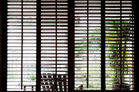 horizontal: Wooden horizontal jalousie , dark