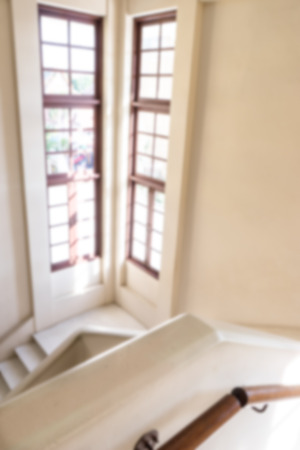 Blur staircase in building and windows Stock Photo