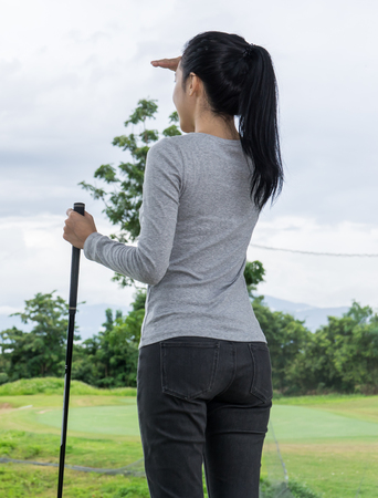 woman golf: Young woman begin the golf Stock Photo