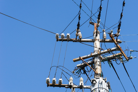 Old electric pole in japan , clear sky