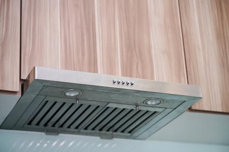 the range hood in modern kitchen