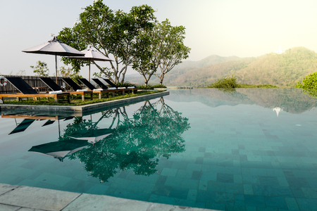 Swimming pool terrace with mountain view