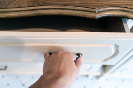 Hand Pull Open white Wooden Drawer