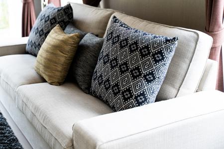Set Pillows On white Sofa Stock Photo