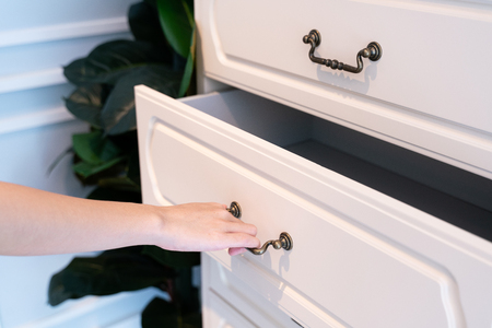 Hand Pull Open white Wooden Drawer