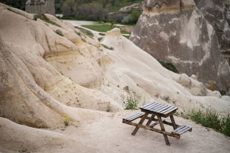 table and chair fot rest near love valley cappadocia, Turkey. 写真素材