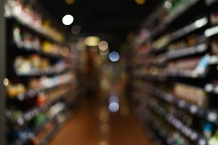Blurred of supermarket with product shelves background image.