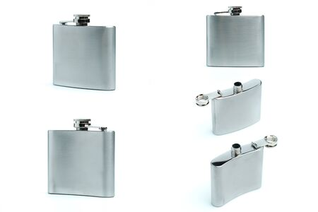 Collection Stainless hip flask isolated on a white background